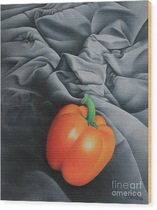 Only Orange Wood Print by Pamela Clements