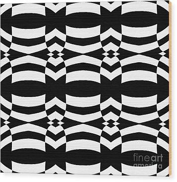 Op Art Black White Pattern No.139  Wood Print by Drinka Mercep