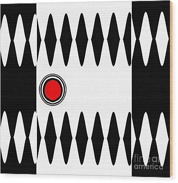 Op Art Black White Red Minimalist Geometric Abstract Print No.277 Wood Print by Drinka Mercep