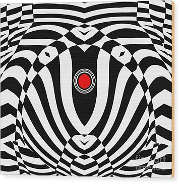 Op Art Geometric Black White Red  Abstract No.383. Wood Print by Drinka Mercep