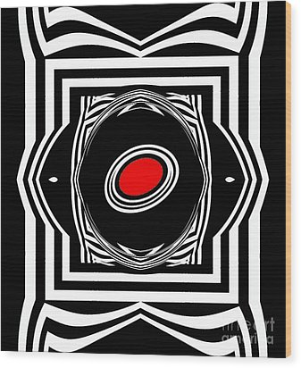 Op Art Geometric Black White Red Abstract Print No.33. Wood Print by Drinka Mercep