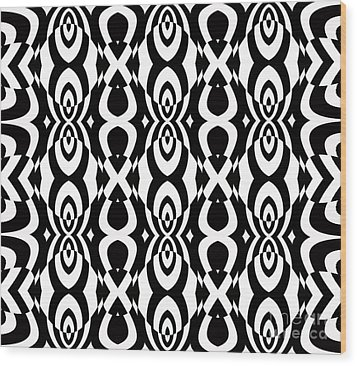 Op Art Pattern Geometric Black White Art No.338. Wood Print by Drinka Mercep