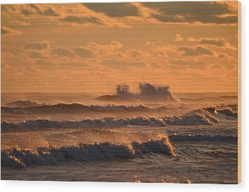 Wood Print featuring the photograph Opal Beach Sunset Colors With Huge Waves by Jeff at JSJ Photography