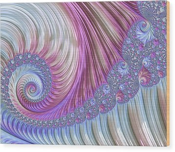 Wood Print featuring the digital art Opal Nautilus by Susan Maxwell Schmidt