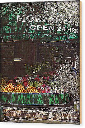 Open 24 Hours Wood Print by Miriam Danar