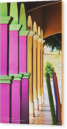 Wood Print featuring the photograph Open Air Restaurant - Mexico - Travel Photography By David Perry Lawrence by David Perry Lawrence
