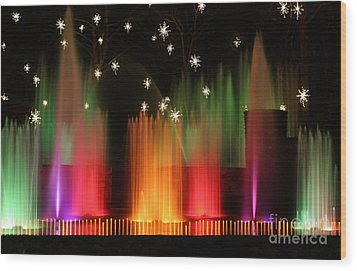 Open Air Theatre Rainbow Fountain Wood Print by Living Color Photography Lorraine Lynch