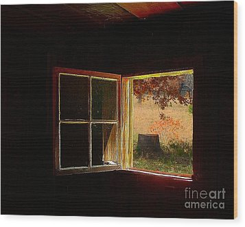 Open Cabin Window II Wood Print by Julie Dant