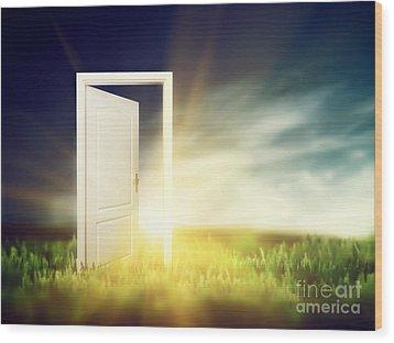 Open Door On The Green Field Wood Print by Michal Bednarek