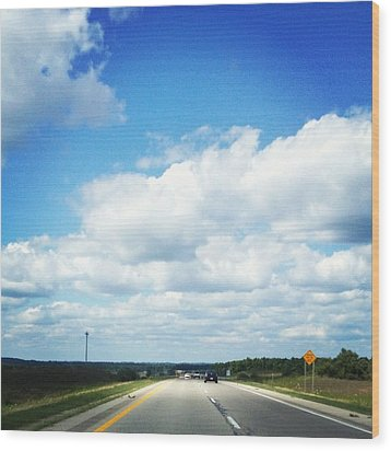Open Road Wood Print by Christy Beckwith