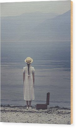 Open Suitcase Wood Print by Joana Kruse