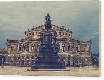 Opera House In Dresden Wood Print by Jelena Jovanovic