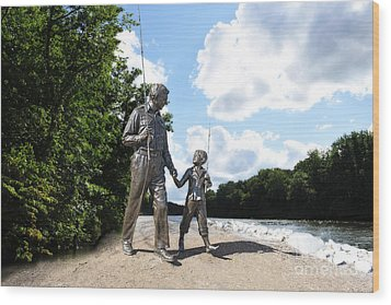 Opie And Andy Go Fishin Wood Print by David Arment