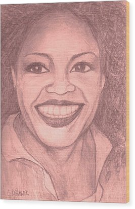 Wood Print featuring the drawing Oprah by Christy Saunders Church
