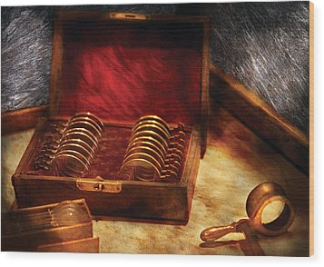 Optician - A Box Of Occulars  Wood Print by Mike Savad