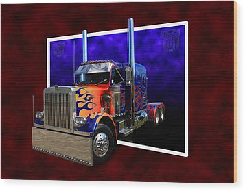 Wood Print featuring the photograph Optimus Prime Peterbilt by Keith Hawley