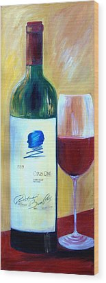 Wood Print featuring the painting Opus One  by Sheri  Chakamian