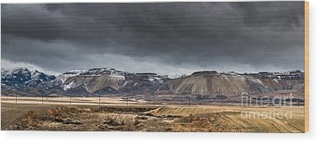 Oquirrh Mountains Winter Storm Panorama 2 - Utah Wood Print by Gary Whitton