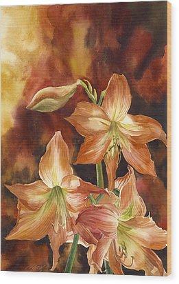 Orange Amaryllis Wood Print by Alfred Ng