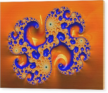 Orange And Blue Fractal Spirals Wood Print by Matthias Hauser