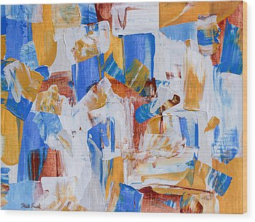 Wood Print featuring the painting Orange And Blue by Heidi Smith