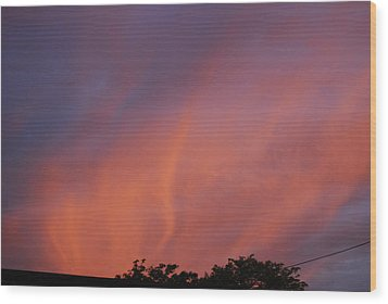 Wood Print featuring the photograph Orange And Blue Sunset by Ramona Whiteaker