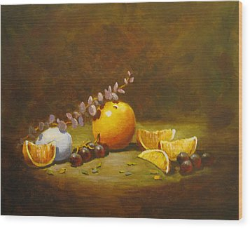 Wood Print featuring the painting Orange And Egg by Carol Hart