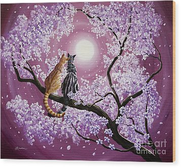 Orange And Gray Tabby Cats In Cherry Blossoms Wood Print by Laura Iverson
