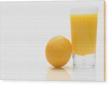 Orange And Orange Juice Wood Print by Darren Greenwood