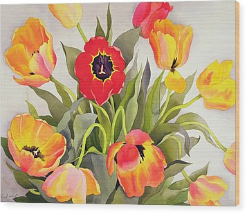 Orange And Red Tulips  Wood Print by Christopher Ryland