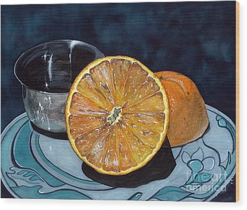 Orange And Silver Wood Print by Barbara Jewell