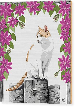 Orange And White Cat And Clematis Wood Print