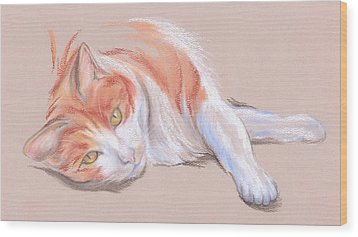 Orange And White Tabby Cat With Gold Eyes Wood Print
