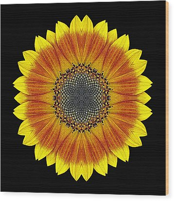 Orange And Yellow Sunflower Flower Mandala Wood Print