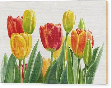 Orange And Yellow Tulips Horizontal Design Wood Print by Sharon Freeman