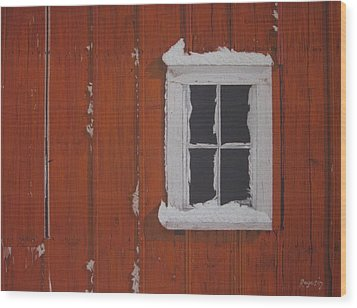 Orange Barn And Snow Wood Print