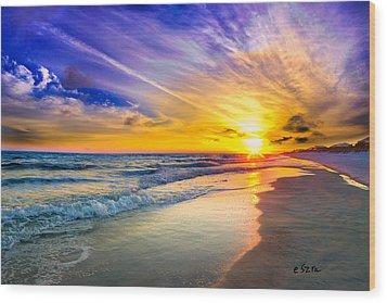 Orange Blue Saturated Sunset-pensacola Beach-bright Sun Wood Print by Eszra Tanner