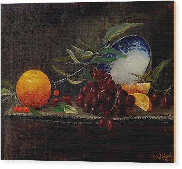 Orange Bowl Grapes Branch Wood Print