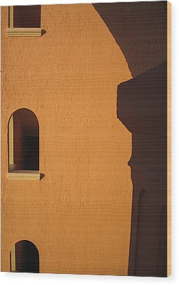 Wood Print featuring the photograph Orange Building With Archway by Mary Bedy