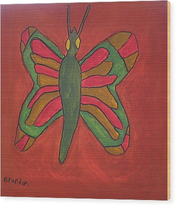 Wood Print featuring the painting Orange Butterfly by Artists With Autism Inc