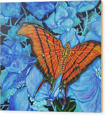 Wood Print featuring the painting Orange Butterfly by Debbie Chamberlin