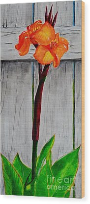 Wood Print featuring the painting Orange Canna Lily by Melvin Turner