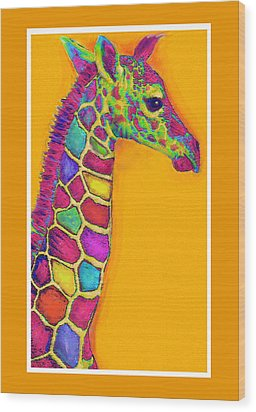 Orange Carosel Giraffe Wood Print by Jane Schnetlage