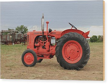 Orange Case Tractor Wood Print