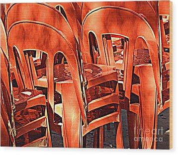 Orange Chairs Wood Print