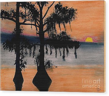 Wood Print featuring the drawing Orange Cypress Sunset by D Hackett