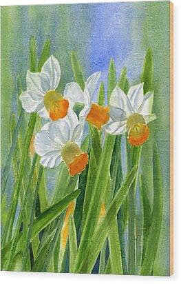 Orange Daffodils With Background Wood Print by Sharon Freeman