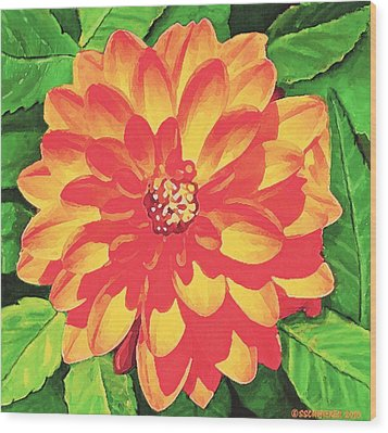 Wood Print featuring the painting Orange Dahlia by Sophia Schmierer