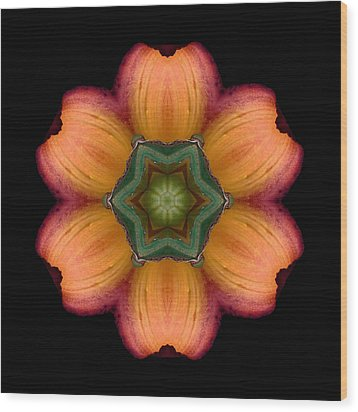 Orange Daylily Flower Mandala Wood Print