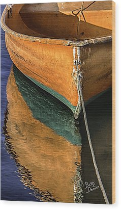 Wood Print featuring the photograph Orange Dinghy In Warm Sun by Betty Denise